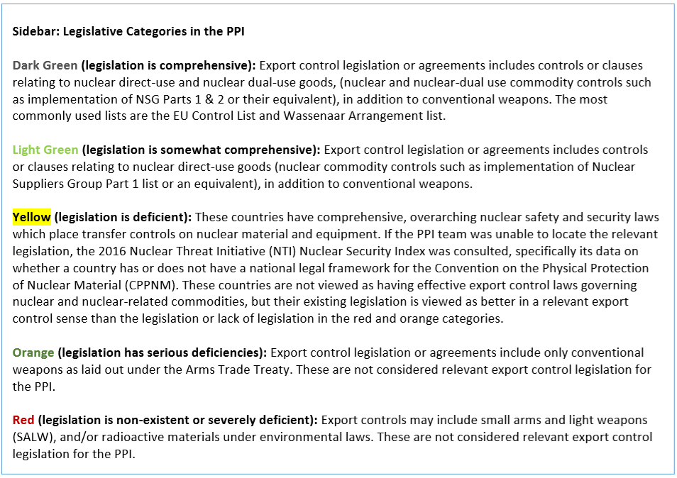 823c58d643a50 Seven out of the 15 countries mentioned for military-related cases have no  export control legislation relevant to strategic trade controls (red and  orange ...